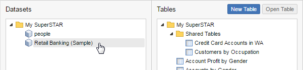 Add Datasets and Tables - SuperSTAR Documentation